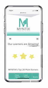 screenshot of the MYNTIX leaderboard