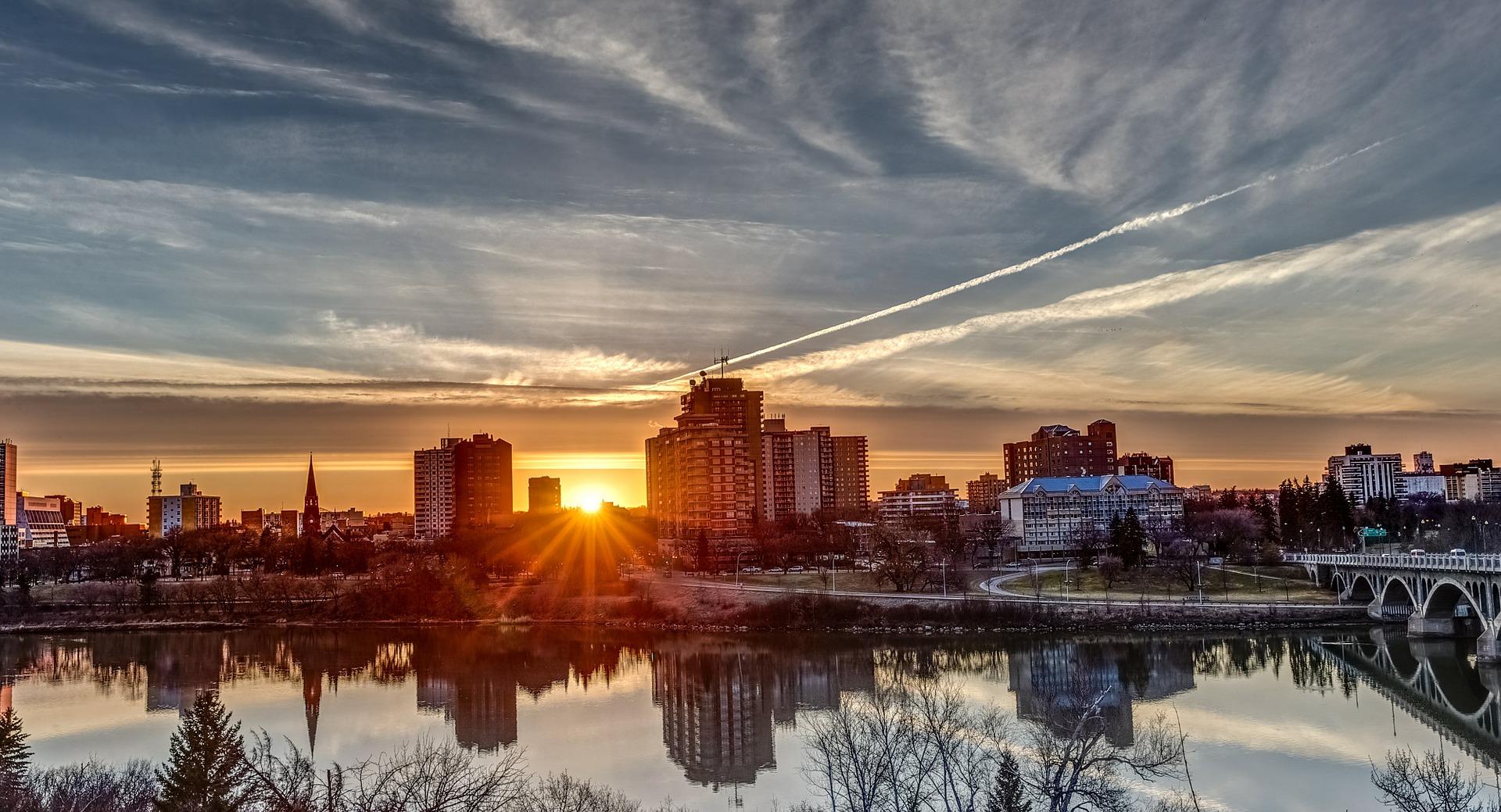 City of Saskatoon at sunset. River view