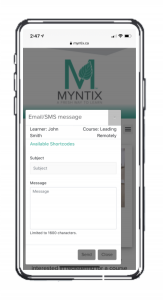 screenshot of the MYNTIX sms or email messaging system