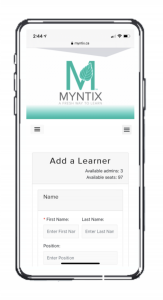 Cell phone with MYNTIX add a learner screen displaying